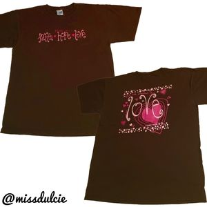 Graphic Print Tshirt Faith Hope Love Hearts Brown